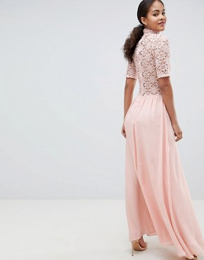 photo High Neck Cutwork Lace Top Maxi Dress by John Zack Tall, color Nude - Image 2