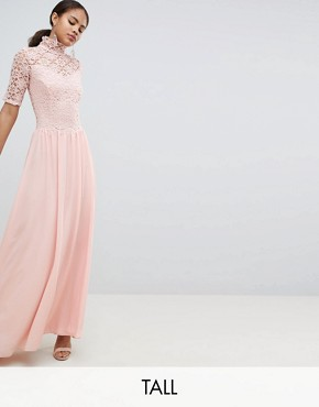 photo High Neck Cutwork Lace Top Maxi Dress by John Zack Tall, color Nude - Image 1