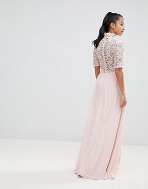 photo High Neck Cutwork Lace Top Maxi Dress by John Zack Petite, color Nude - Image 2