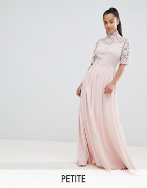 photo High Neck Cutwork Lace Top Maxi Dress by John Zack Petite, color Nude - Image 1