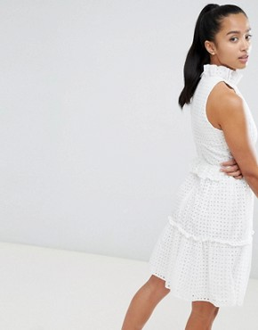 photo High Cutwork Lace Layered Skater Dress by John Zack Petite, color White - Image 2