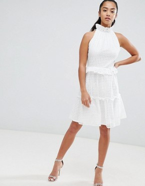 photo High Cutwork Lace Layered Skater Dress by John Zack Petite, color White - Image 4