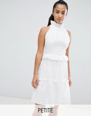photo High Cutwork Lace Layered Skater Dress by John Zack Petite, color White - Image 1