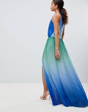 photo Plunge Front Maxi Dress with High Thigh Split by John Zack Tall, color Blue Ombre - Image 2