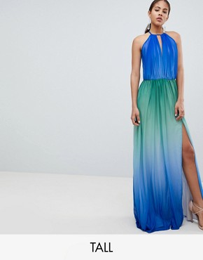 photo Plunge Front Maxi Dress with High Thigh Split by John Zack Tall, color Blue Ombre - Image 1
