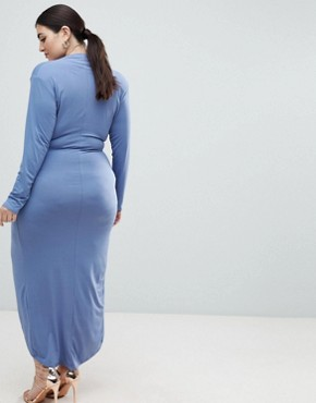 photo Wrap Front Maxi Dress by John Zack Plus, color Airforce Blue - Image 2
