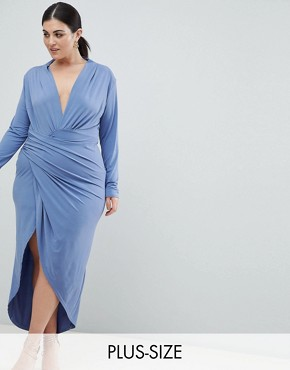 photo Wrap Front Maxi Dress by John Zack Plus, color Airforce Blue - Image 1