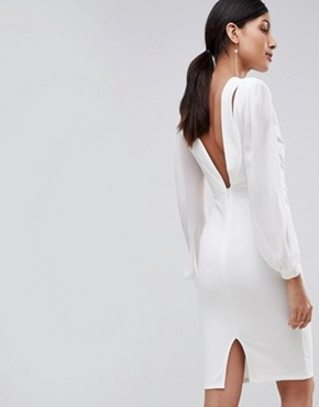 photo Open Back Bodycon Dress with Split Sleeve Detail by John Zack Tall, color White - Image 2