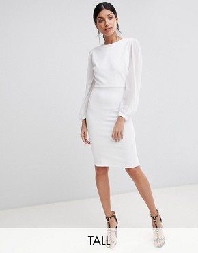photo Open Back Bodycon Dress with Split Sleeve Detail by John Zack Tall, color White - Image 1