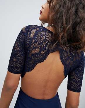 photo Lace Open Back Maxi Dress by John Zack Tall, color Navy - Image 2