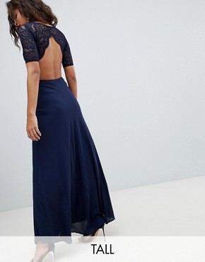 photo Lace Open Back Maxi Dress by John Zack Tall, color Navy - Image 1