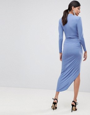 photo Wrap Front Maxi Dress by John Zack Tall, color Airforce Blue - Image 2