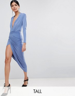 photo Wrap Front Maxi Dress by John Zack Tall, color Airforce Blue - Image 1