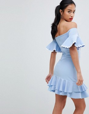 photo Off Shoulder Mini Skater Dress by John Zack Petite, color Sky Blue - Image 2