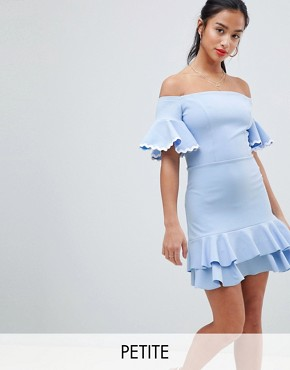 photo Off Shoulder Mini Skater Dress by John Zack Petite, color Sky Blue - Image 1