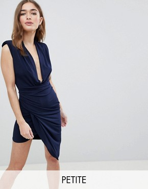 photo Sleeveless Wrap Front Mini Dress by John Zack Petite, color Navy - Image 1