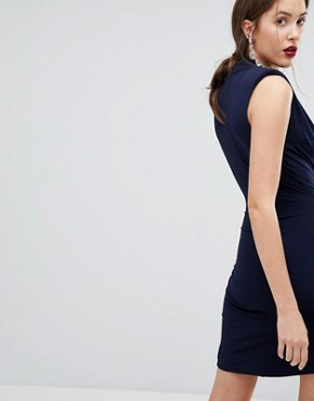 photo Sleeveless Wrap Front Mini Dress by John Zack Tall, color Navy - Image 2