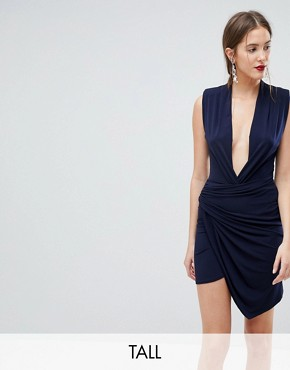 photo Sleeveless Wrap Front Mini Dress by John Zack Tall, color Navy - Image 1