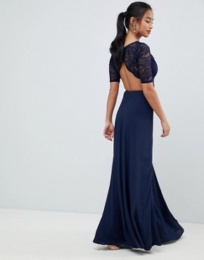 photo Lace Open Back Maxi Dress by John Zack Petite, color Navy - Image 2