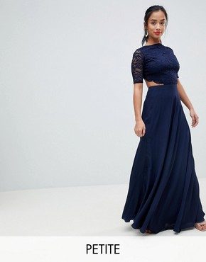 photo Lace Open Back Maxi Dress by John Zack Petite, color Navy - Image 1