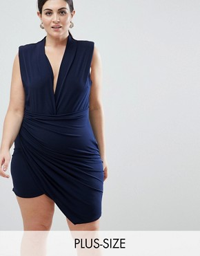 photo Sleeveless Wrap Front Mini Dress by John Zack Plus, color Navy - Image 1
