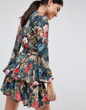 photo Plunge Front Ruffle Tea Dress in Dark Floral Print by John Zack Tall, color Multi - Image 2