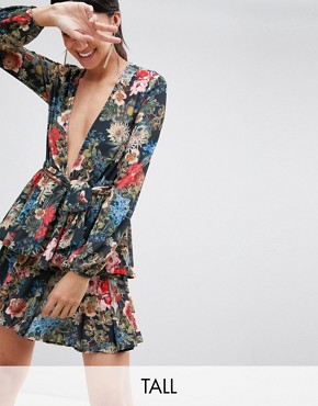 photo Plunge Front Ruffle Tea Dress in Dark Floral Print by John Zack Tall, color Multi - Image 1
