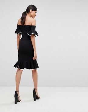photo Off Shoulder Midi Pencil Dress with Fluted Hem Detail by John Zack Tall, color Black - Image 2