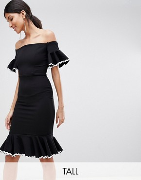 photo Off Shoulder Midi Pencil Dress with Fluted Hem Detail by John Zack Tall, color Black - Image 1