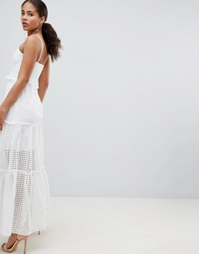 photo High Cutwork Lace Layered Maxi Dress by John Zack Tall, color White - Image 2