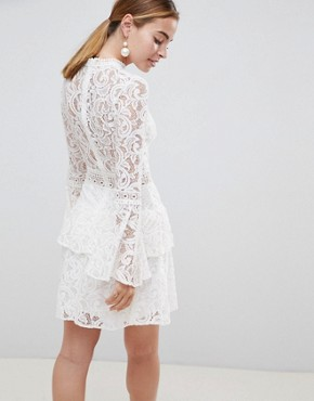 photo Allover Lace Mini Dress with Crochet Waist Trim by John Zack Petite, color White - Image 2