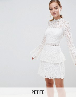 photo Allover Lace Mini Dress with Crochet Waist Trim by John Zack Petite, color White - Image 1