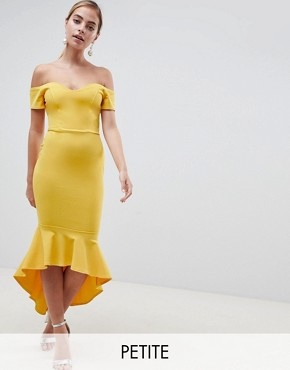 photo Off Shoulder Ruffle Midi Dress by John Zack Petite, color Yellow - Image 1