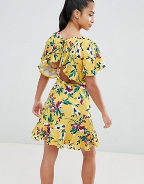 photo Floral Tea Dress with Open Back by John Zack Petite, color Yellow Multi - Image 2