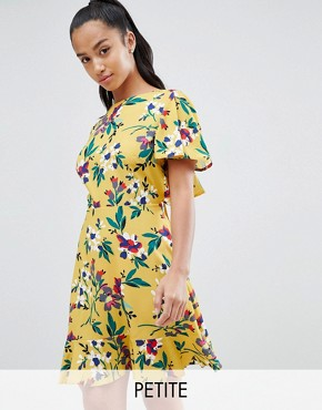 photo Floral Tea Dress with Open Back by John Zack Petite, color Yellow Multi - Image 1