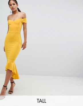 photo Off Shoulder Ruffle Midi Dress by John Zack Tall, color Yellow - Image 1