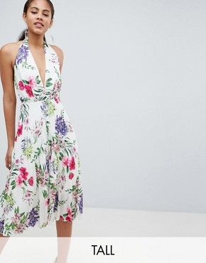 photo Allover Printed Halterneck Midi Dress by John Zack Tall, color Floral Multi - Image 1
