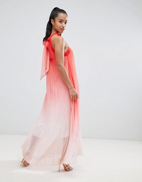 photo High Neck Pleated Maxi Dress by John Zack Petite, color Pink Ombre - Image 2