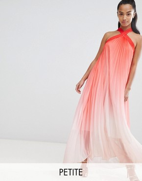 photo High Neck Pleated Maxi Dress by John Zack Petite, color Pink Ombre - Image 1