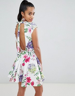 photo Allover Printed Mini Prom Dress by John Zack Petite, color Floral Multi - Image 2