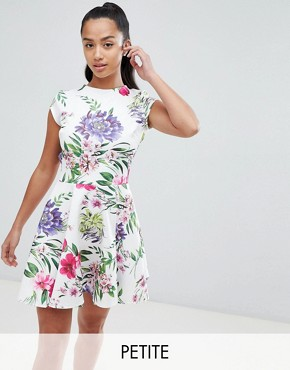 photo Allover Printed Mini Prom Dress by John Zack Petite, color Floral Multi - Image 1
