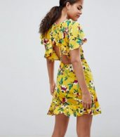 photo Floral Tea Dress with Open Back by John Zack Tall, color Yellow Multi - Image 2