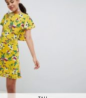 photo Floral Tea Dress with Open Back by John Zack Tall, color Yellow Multi - Image 1