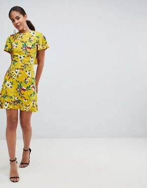 photo Floral Tea Dress with Open Back by John Zack Tall, color Yellow Multi - Image 4