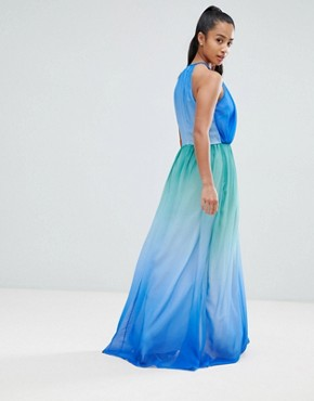 photo Plunge Front Maxi Dress with High Thigh Split by John Zack Petite, color Blue Ombre - Image 2