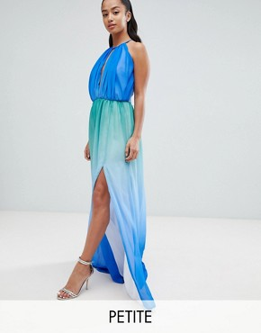 photo Plunge Front Maxi Dress with High Thigh Split by John Zack Petite, color Blue Ombre - Image 1