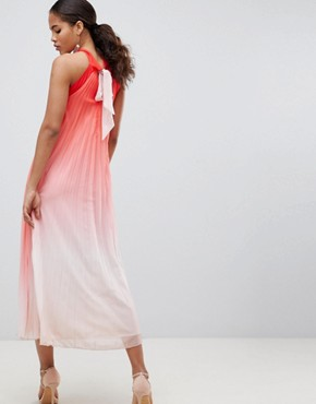 photo High Neck Pleated Maxi Dress by John Zack Tall, color Pink Ombre - Image 2