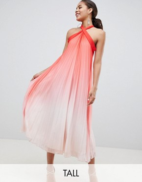 photo High Neck Pleated Maxi Dress by John Zack Tall, color Pink Ombre - Image 1