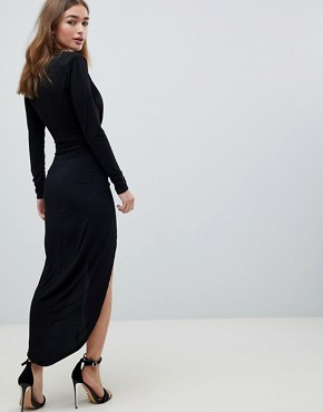 photo Plunge Front Wrap Maxi Dress by John Zack Petite, color Monochrome - Image 2