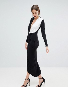 photo Plunge Front Wrap Maxi Dress by John Zack Tall, color Monochrome - Image 4